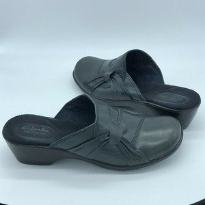 Clarks Bendables Gray Navy Blue Leather Mules 8.5M